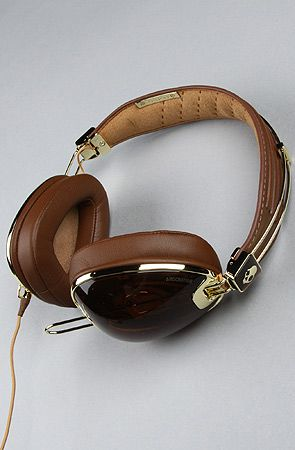 The Aviator Headphones with Mic in Brown & Gold by Skullcandy