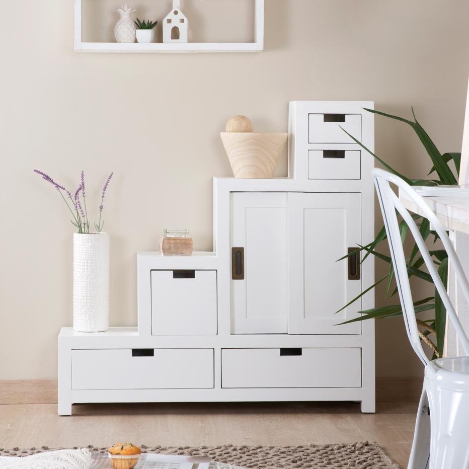 Afnes mueble escalera reversible blanco for Mueble escalera ikea