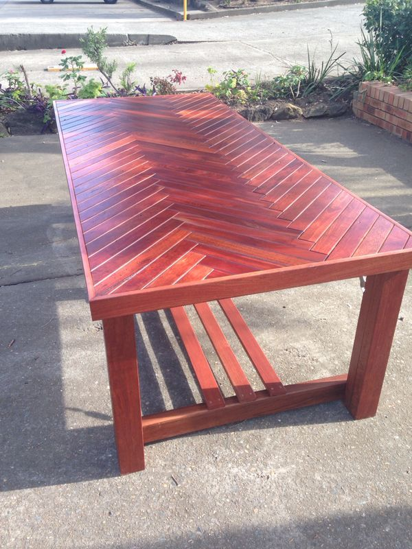 Alfresco herringbone Dining table made using Australian Hardwood