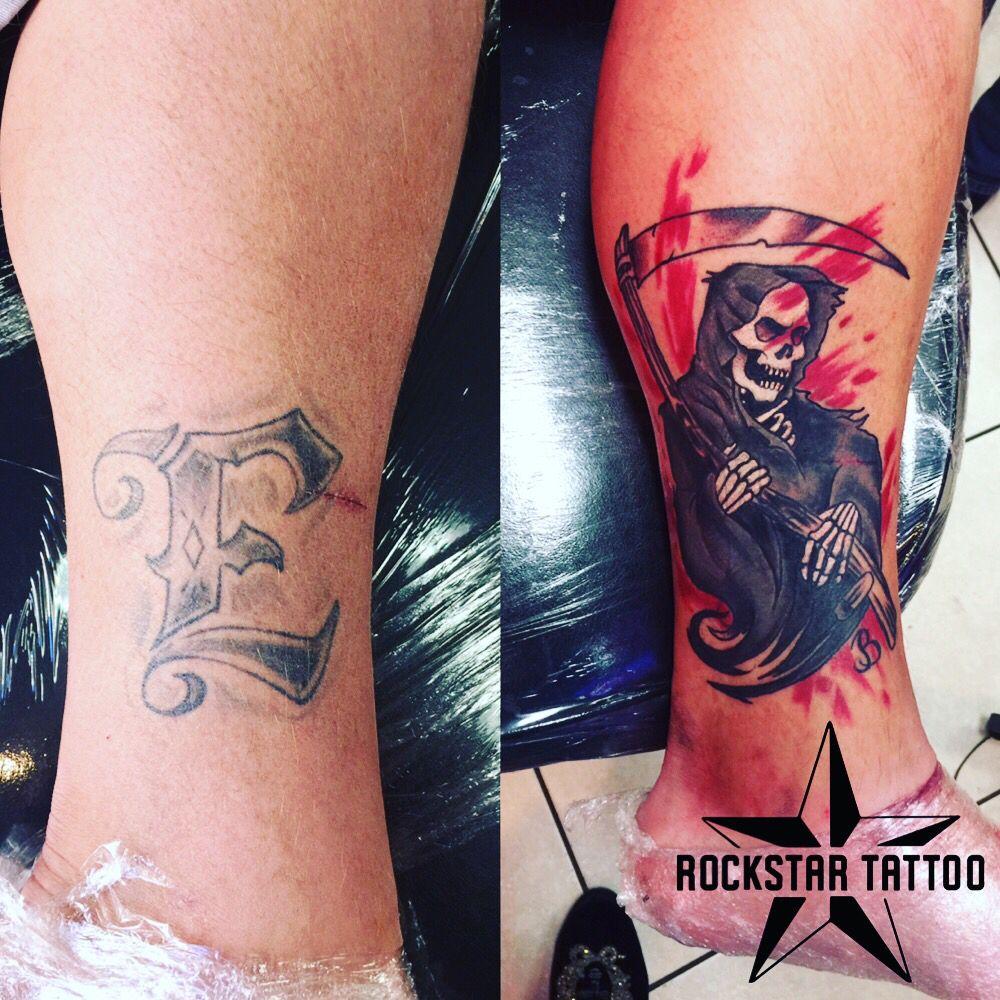 Clover up grim reaper tattoo rockstar tattoo tattoo las