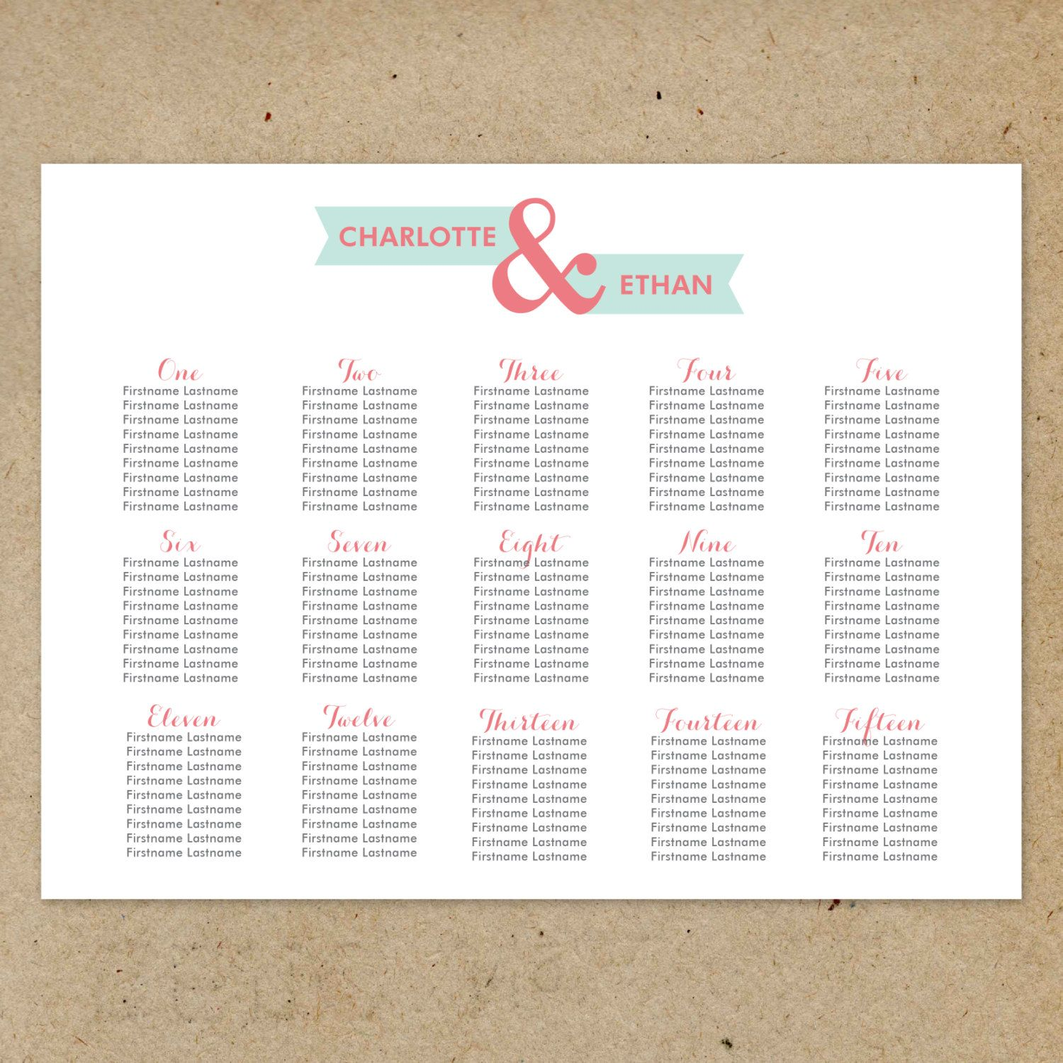 Printable Wedding Seating Chart in the Modern Banner collection by Type Ten on etsy Paper Goods & Signage Pinterest