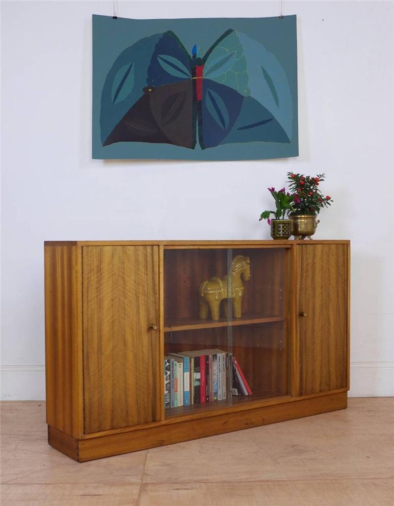 Long Slim Mid Century Vintage Sideboard by Neil Morris Bookcase Cabinet Antique Vintage and