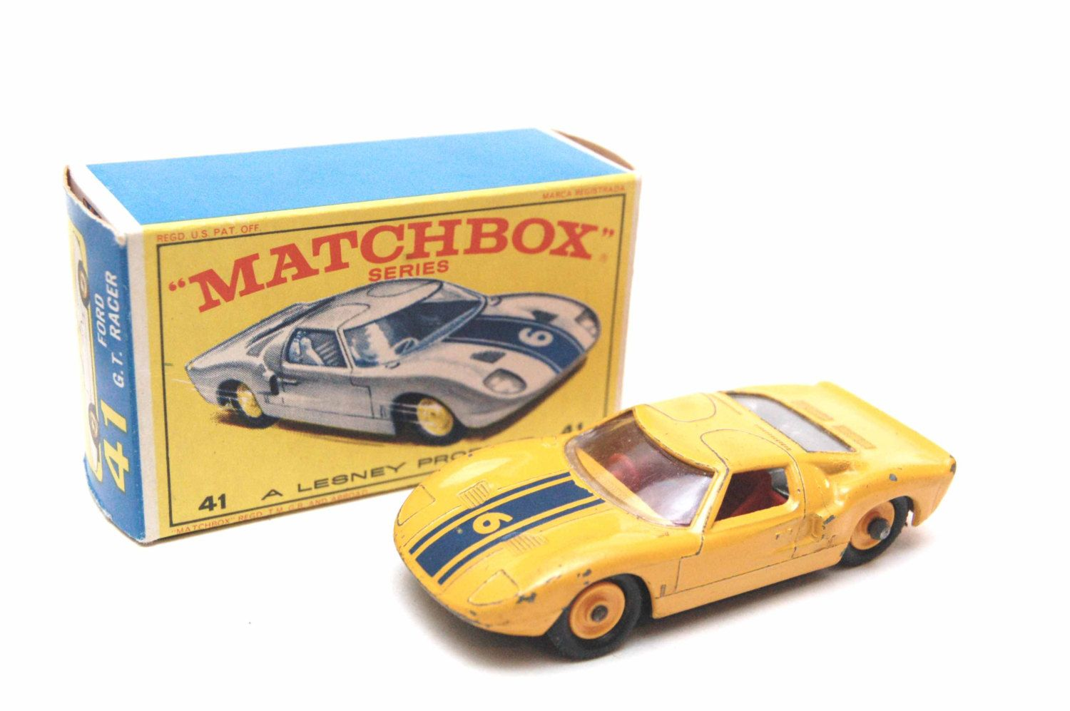 No.41 RARE Yellow Ford GT Race Car & Original Box by