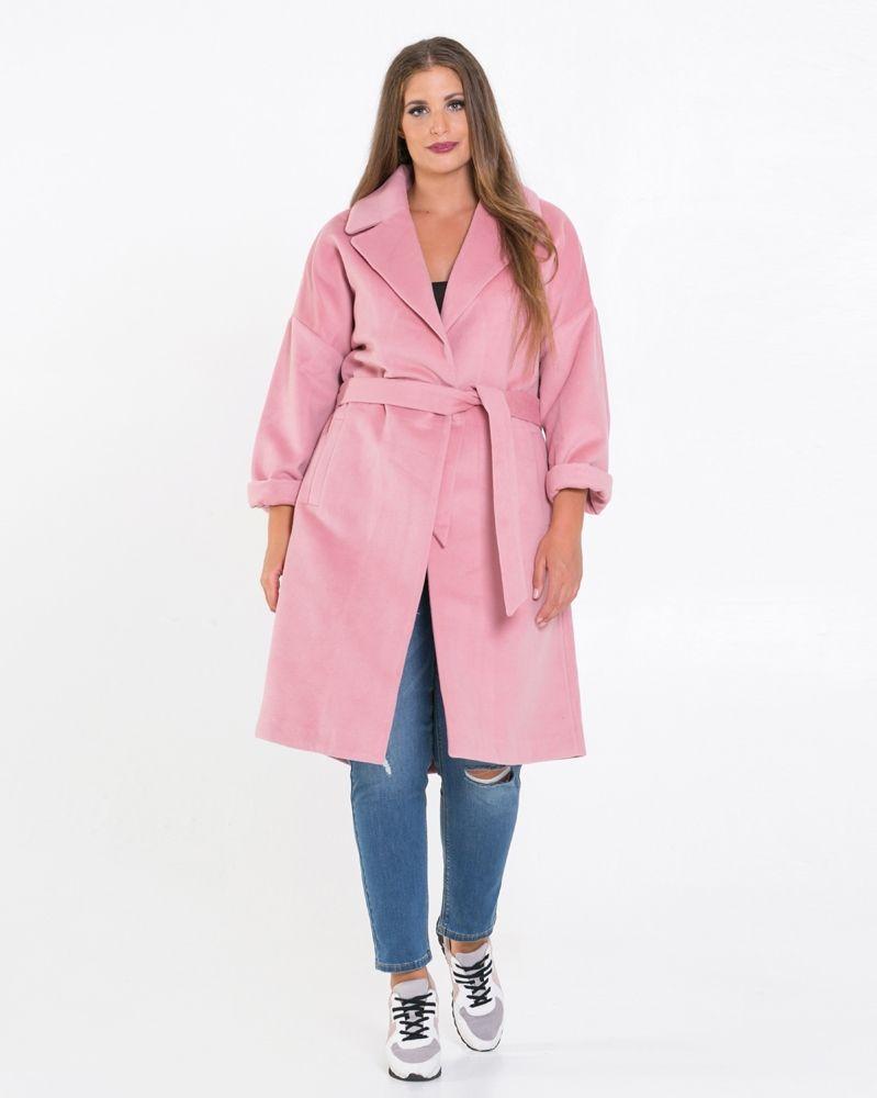 25b723432c56 Μονόχρωμο παλτό με ζώνη — mat. XXL sizes — Γυναικεία Ρούχα