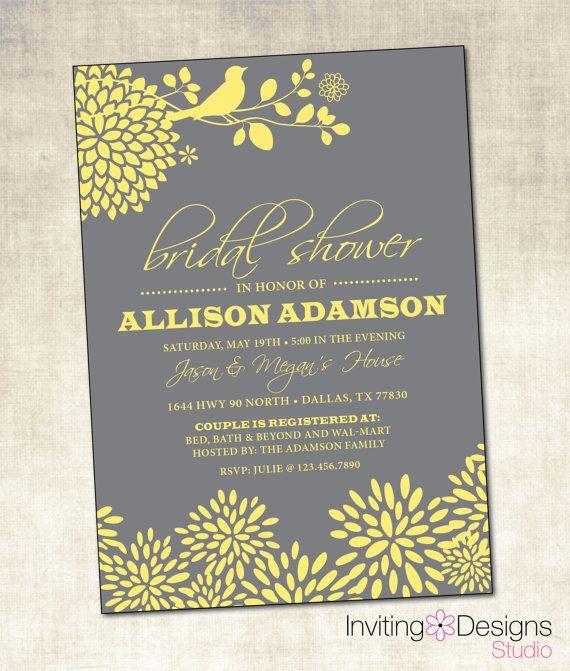 Yellow and Gray Bridal Shower Invitation (PRINTABLE FILE)