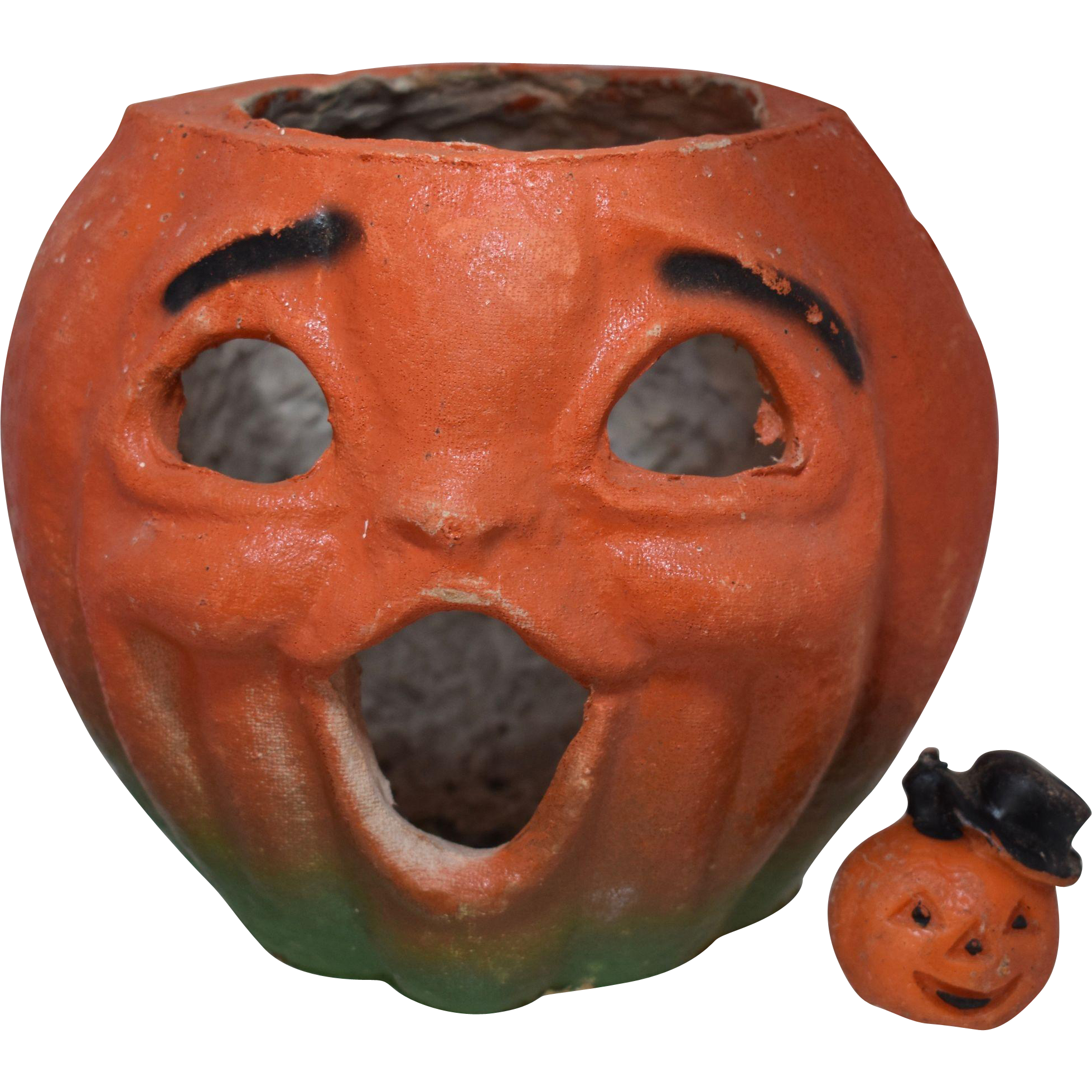 1940s Pulp Jack O Lantern Pumpkin Head w Halloween Wax Candle