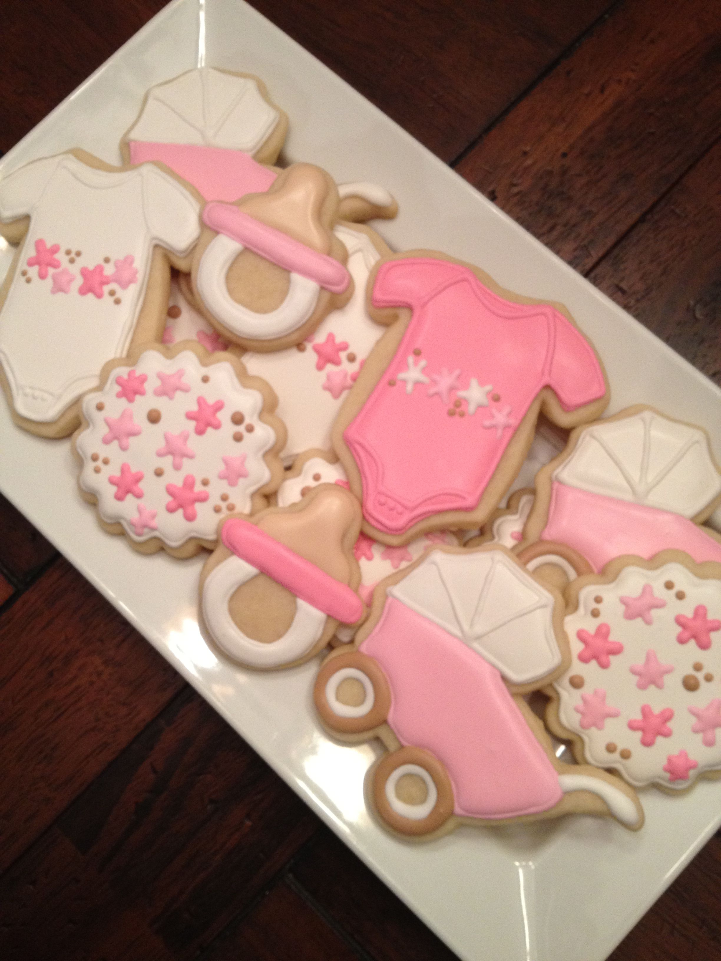 Baby Girl Or Baby Shower Sugar Cookies With Royal Icing With