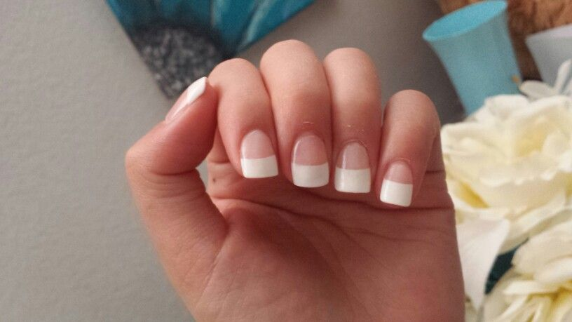 Simplybelle47 Thick Short White French Tip Acrylic Nails French Tip Acrylic Nails White Tip Acrylic Nails Short Acrylic Nails