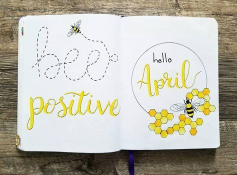bullet journal monthly cover page april cover page bee drawing honeycomb drawing