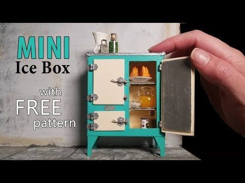 Miniature Dollhouse Ice Box (Fridge) with Free Downloadable Pattern