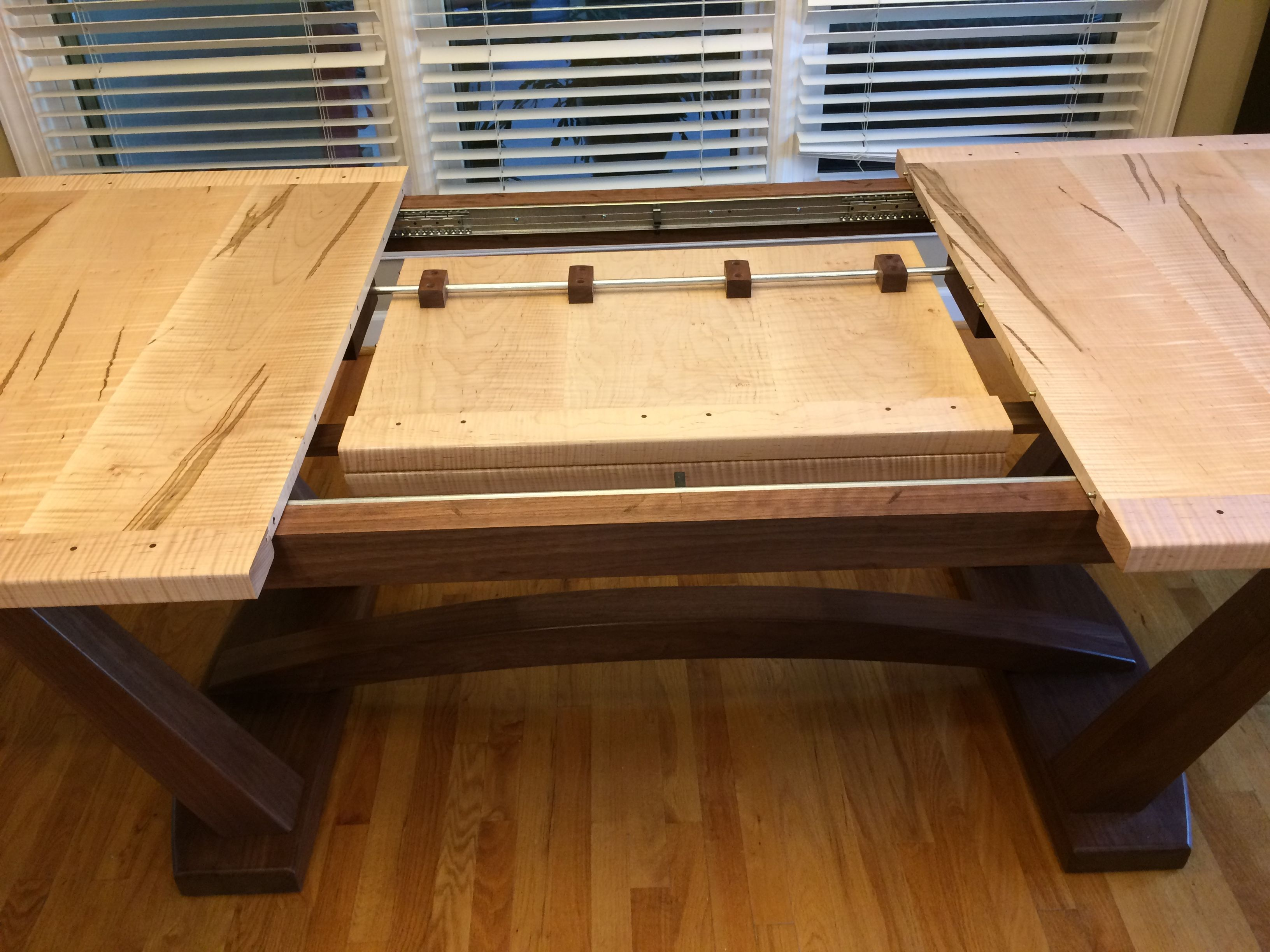Butterfly Leaf Tiger Maple & Walnut Trestle Table