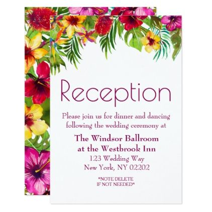 Tropical Floral Wedding Reception Card for Summer wedding