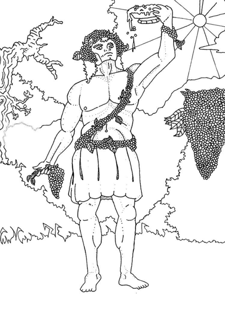 Greek Gods Coloring Pages God Dionysus Kleurplaat Pinterest