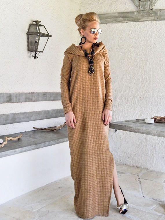 04d4a431f17 NOUVELLES d hiver en laine Camel Boucle col roulé Maxi robe caftan avec  poches