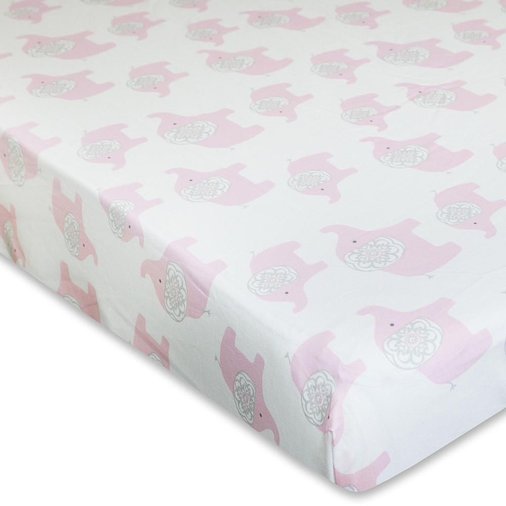 wendy bellissimo elodie pink white elephant fitted sheet themed