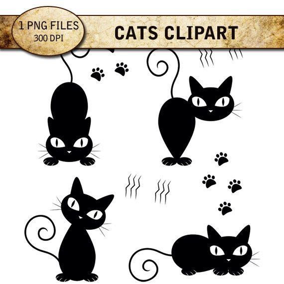 Cats Digital Clip Art, Digital Paper Cat Pattern, Instant Download, 300 DPI, PNG Format