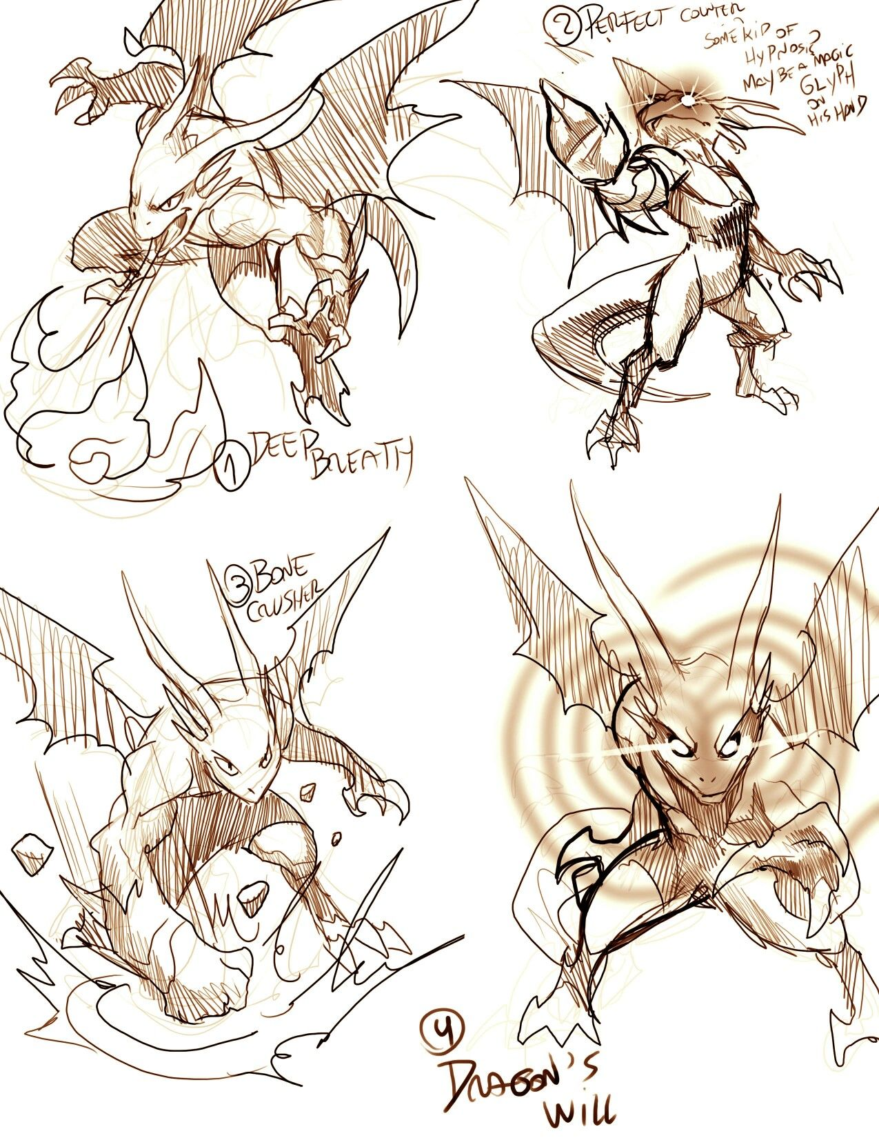 Anthro Dragon, Battle Poses, Positions, Text, Attacks; How To Draw Manga