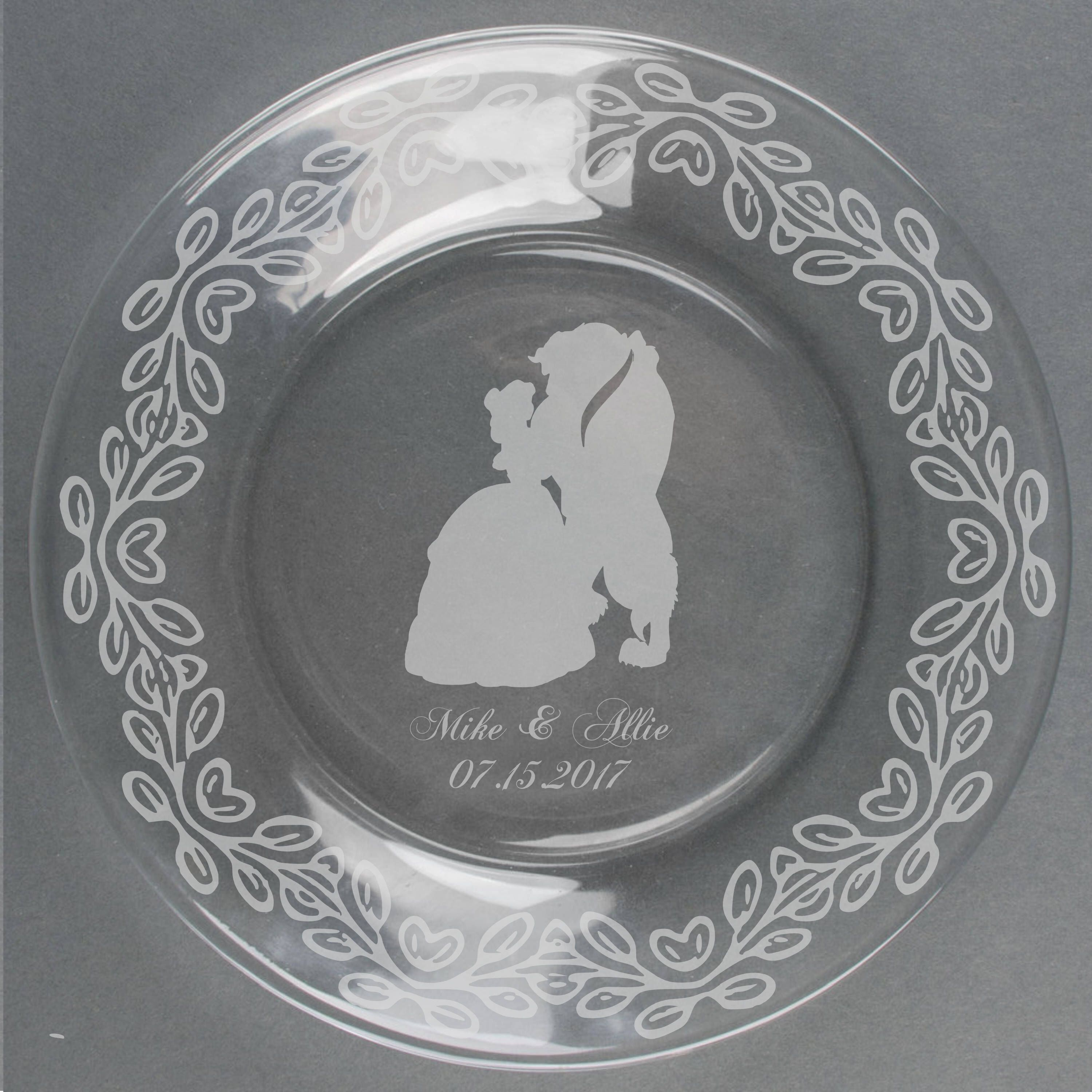 Beauty And The Beast Etched Glass Plate Glass Etching Item Eg