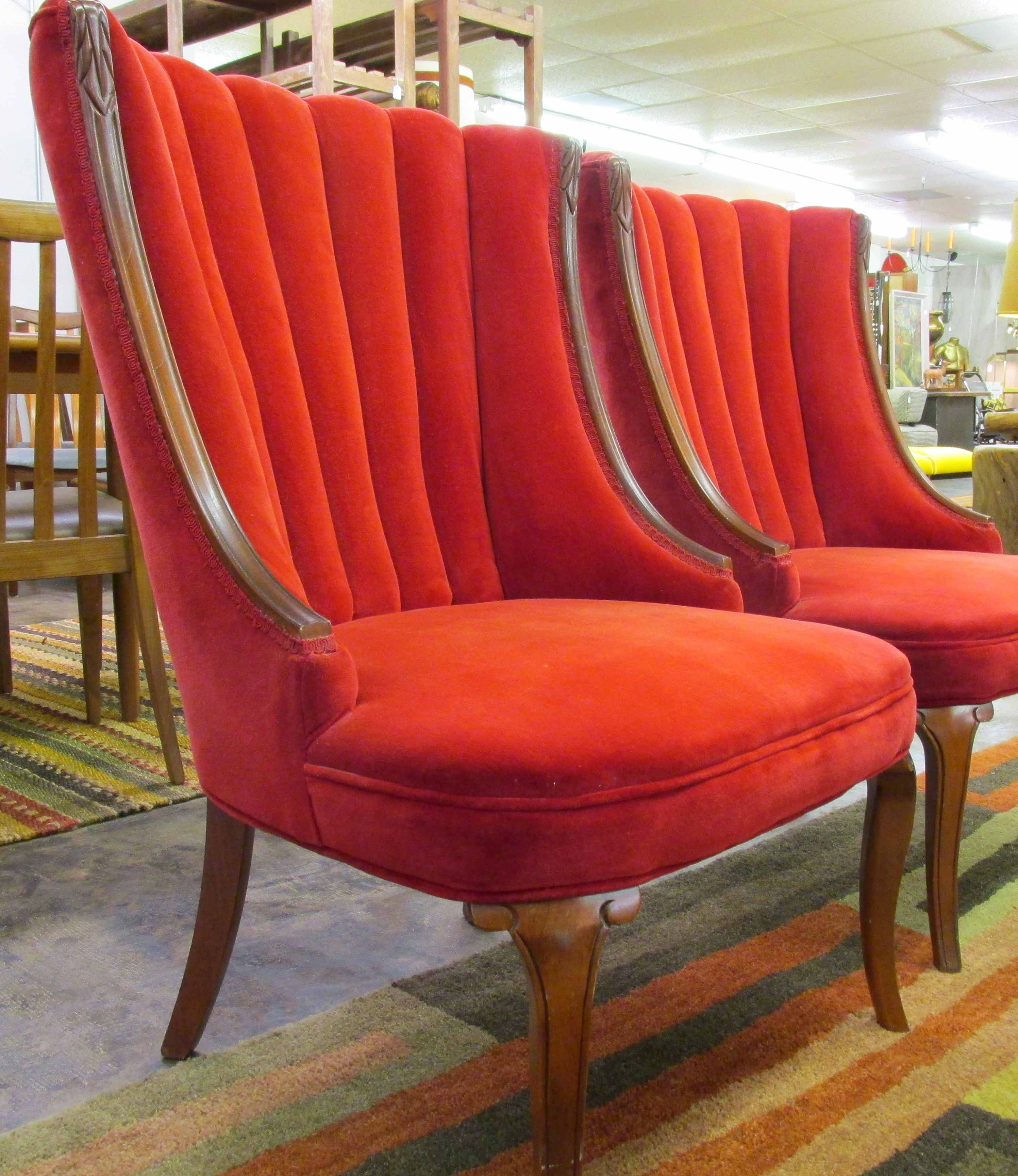 Pair of red velvet 1960 s channel back chairs
