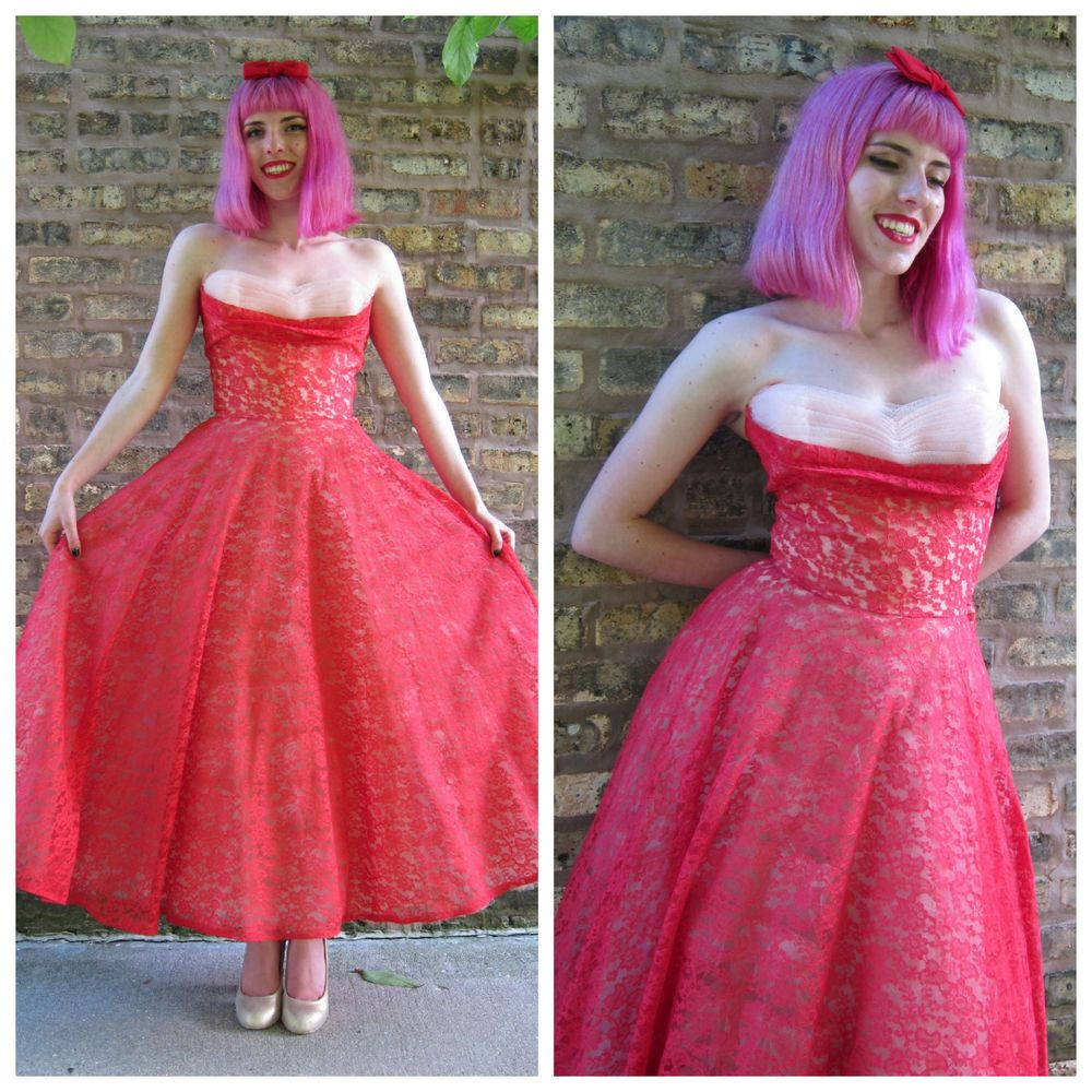 Vintage s red lace strapless party prom dress full skirt cotillion