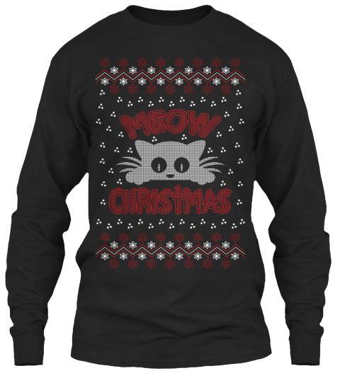 Cute Christmas Long Sleeve Tee Black T-Shirt Front