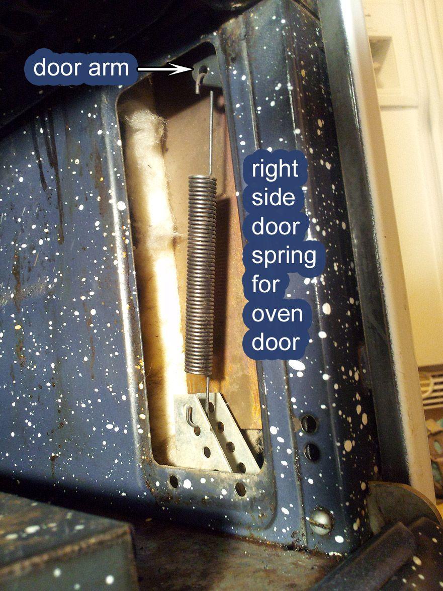 O Keefe Merritt Oven Door Spring Hidden Behind Panel Is Exposed This Access Allows Owners To Easily Replace Broken Door Broken Oven Door Repair Replace Oven