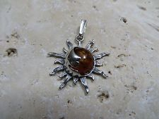 Natural Cognac Baltic Amber Sun and Moon Pendant in 925 Sterling Silver #0720