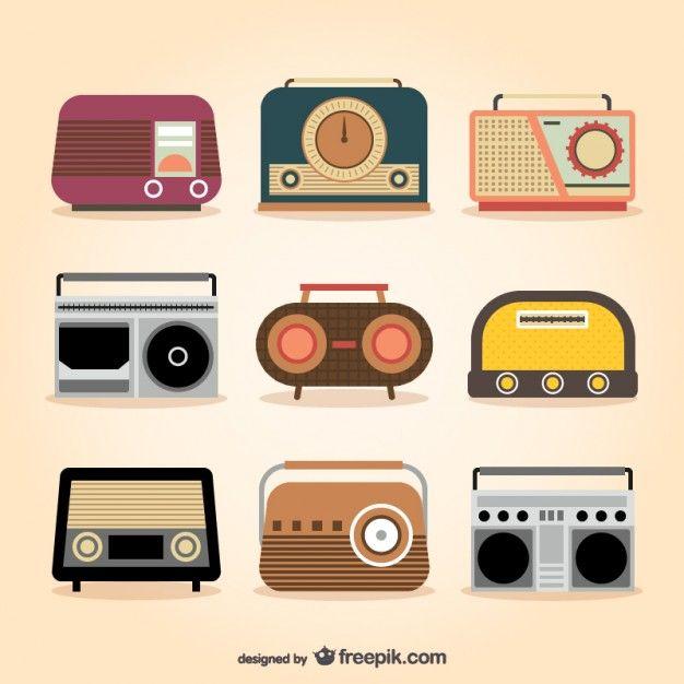 Retro Radio Sets Free Vector | Radios, Illustrators and Doodles