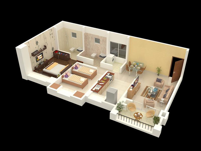 Home Interior Design For 2bhk Flat Isometric Design
