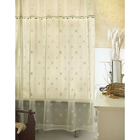 Heritage Lace Sand Shell Shower Window Curtain Panel And Valance Set