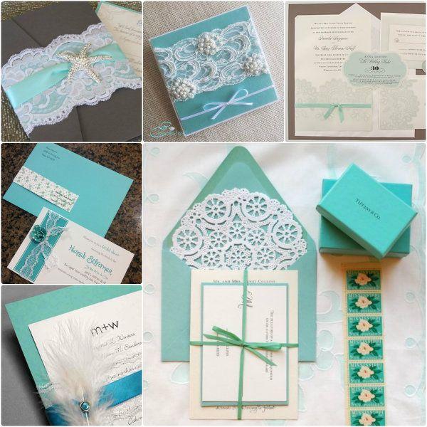 Elegant Spitze Hochzeit Einladungen Blau Hochzeit