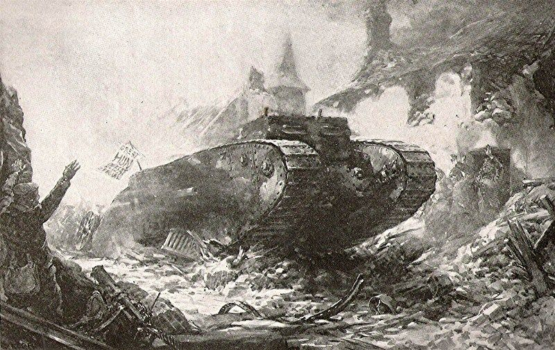 WW1, Propaganda image of a British tank entering the village of Flers 15 Sept…