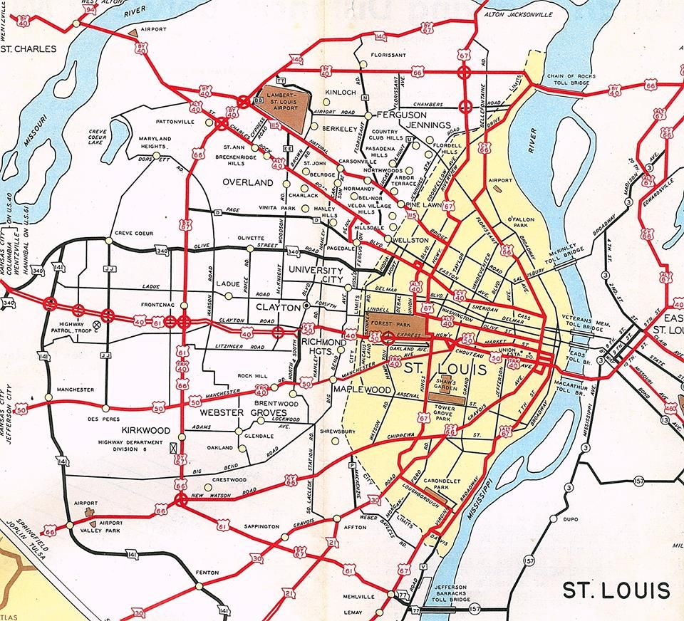 Missouri Highway Department map of St Louis in 1953 prior to the