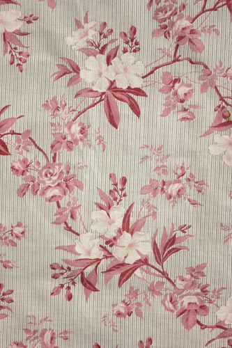 Beautiful antique French grey / gray striped fabric with stunning pink floral design ~ lovely valance for French country interior ~*~ www.textiletrunk.com