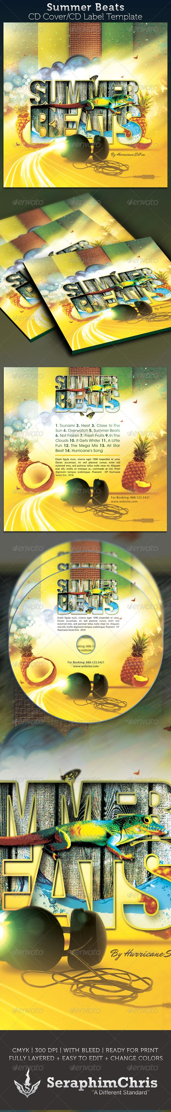 Summer Beats CD Artwork Template CD & DVD Artwork Print Templates