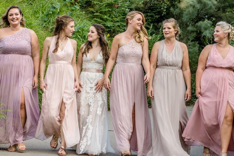 Every Bride Needs Her Tribe I Love The Bridesmaids Dresses In Varying Shades And Bridal Party Photos Photojournalistic Wedding Photography Bridesmaid Dresses