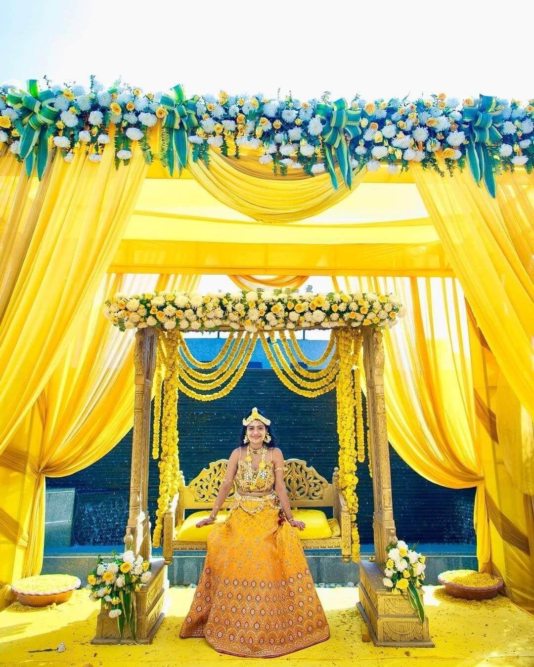 Haldi Decoration Ideas & Styles | Wedding stage decorations