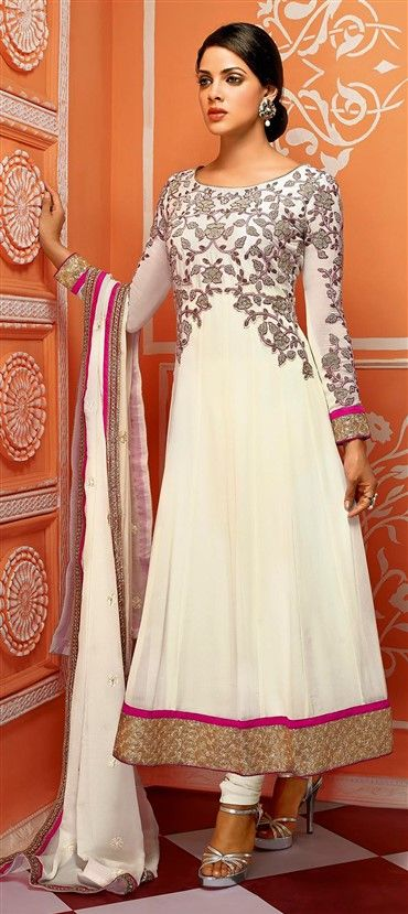 423714: White and Off White color family unstitched Anarkali Suits.