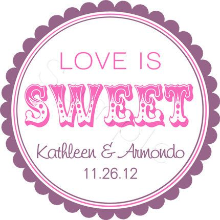 Custom Wedding Favor Stickers Love Is Sweet by partyINK on Etsy