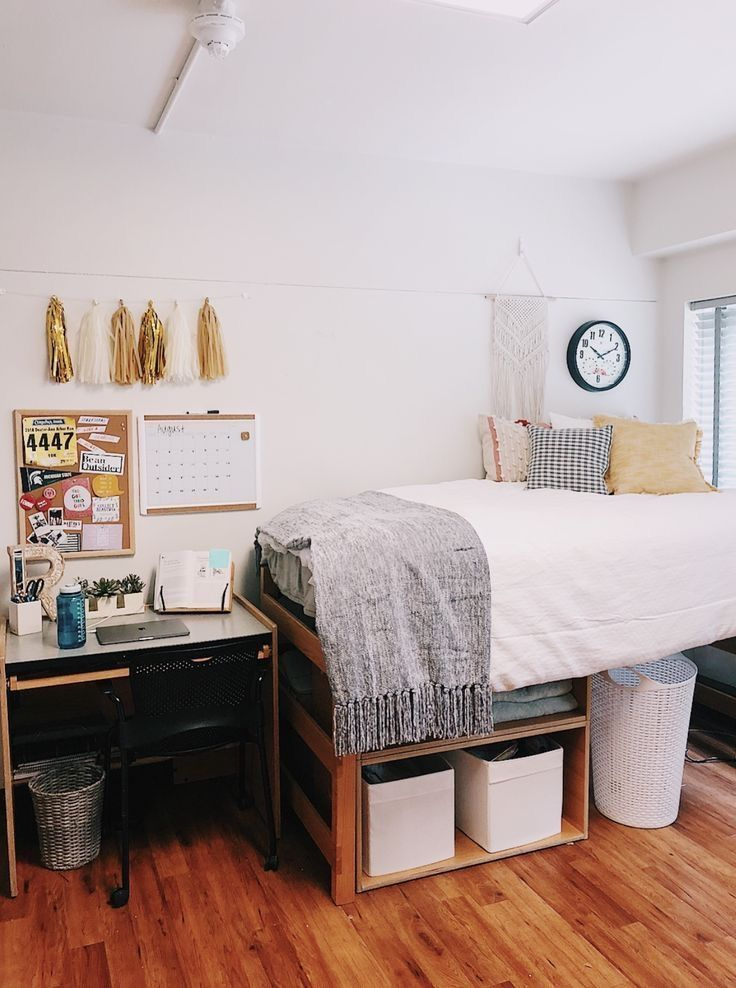 Cute White Grey Gold College Dorm Room Ideas Dorm Room Styles