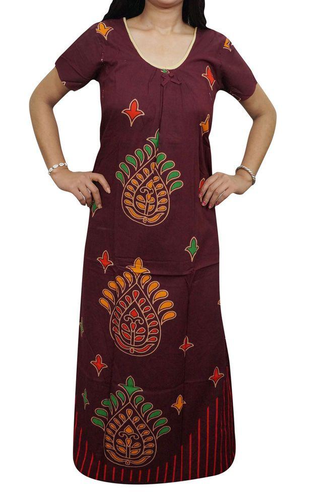 Indiatrendzs Womens Maxi Nighty Cotton Printed Maroon Sleepwear