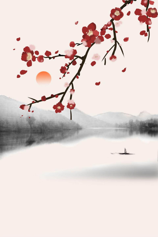 中國風 山水 禪意 背景 En 2020 Paysage Zen Peinture De Cerisiers En Fleur Aquarelle Japonaise
