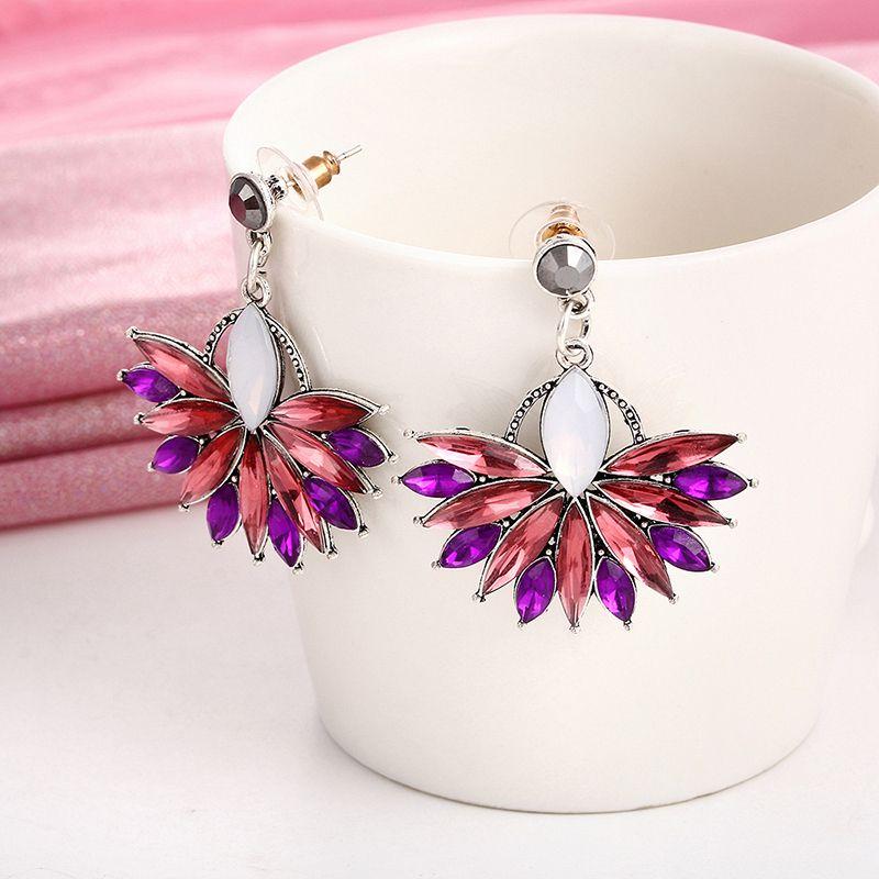 E0226 Hot Sale Pink Flower Crystal Earrings For Women Luxury Drop Earrings  Statement Ear Jewelry Wedding 66d0ca003d6a