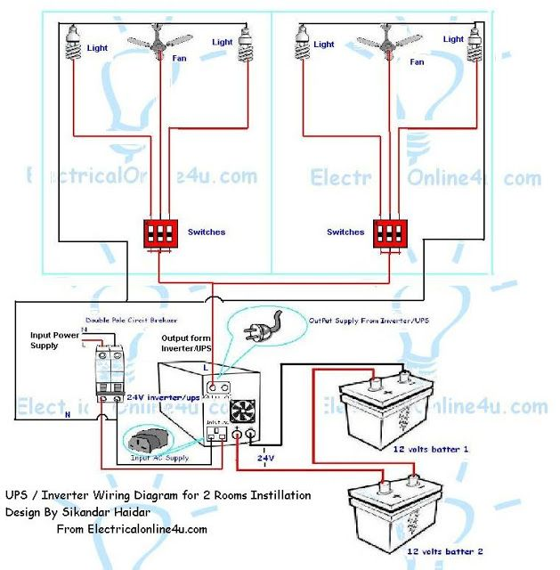 ups inverter wiring instillation for 2 rooms with wiring diagram rh pinterest com Grid Tie Power Inverter Wiring Diagram Inverter Charger Wiring Diagram