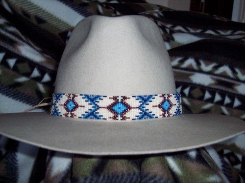 Native American inspired Beaded hat band accessories boho western hat band seed bead hatbands southwestern loomed hat band