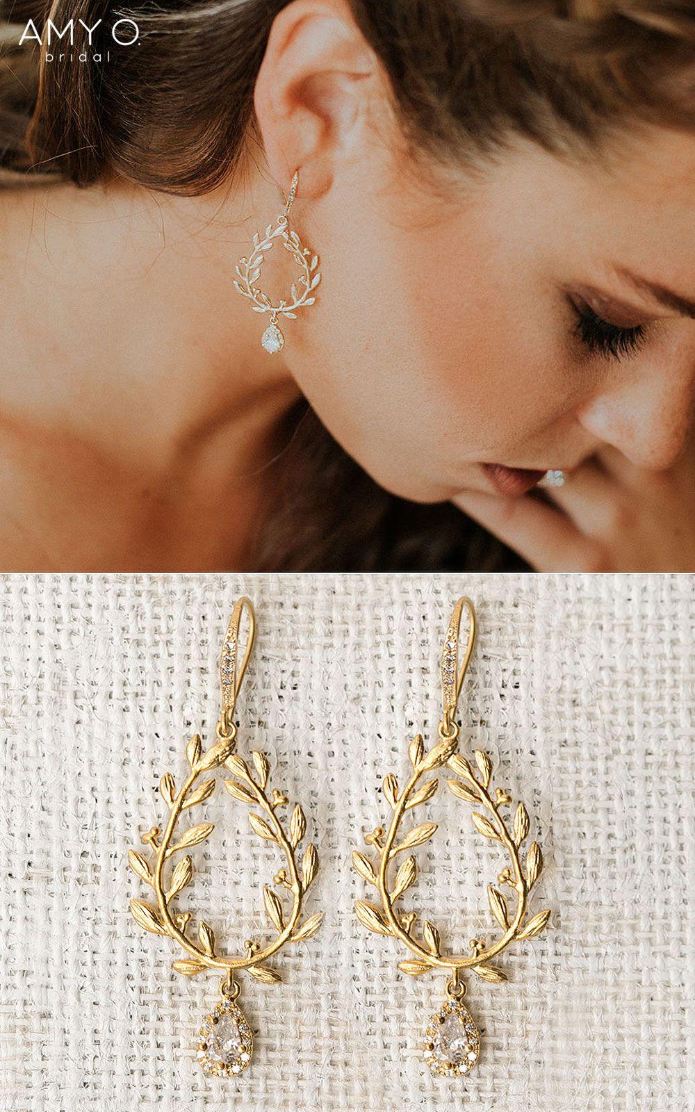 Ivy Halo Teardrop Earrings Boho Wedding Earrings Bohemian Wedding Earrings Dangle Earrings Wedding