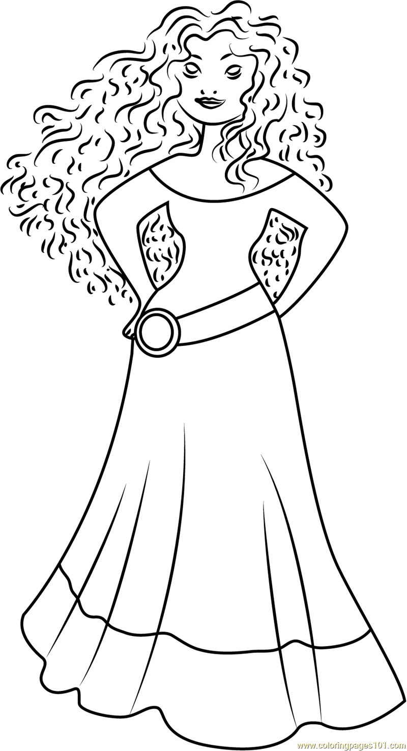 Coloring Princess Merida Coloring Page Free Brave Pages With Fans Request Disney Princess With Merida From Brave Colori Princess Princess Merida Kawaii Disney