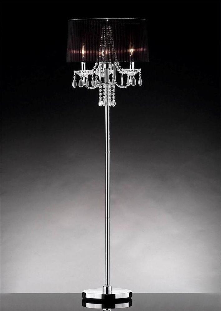 Chrome Crystal Modern Pole Floor Lamp Shade Tall Mid Century Vintage Chandelier