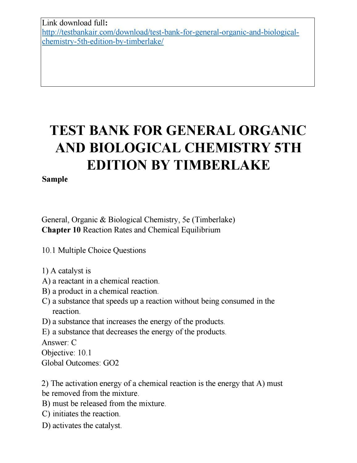 Download test bank for general organic and biological chemistry 5th edition  by timberlake