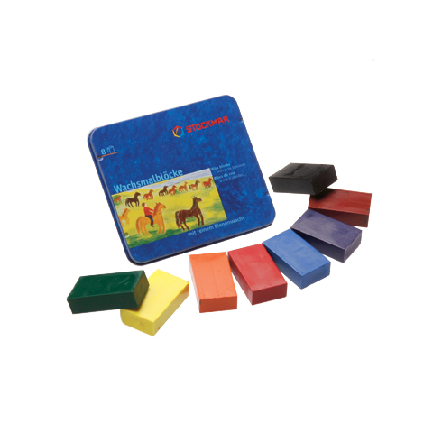 The Stockmar beeswax block crayons are ideal for smaller children, as they fit a child's hand particularly well. Older artists enjoy using the blocks, too, as they can easily apply color to a large surface, or use the edge of the block to paint fine lines. This set of8standard colors comes in a handy storage tin.